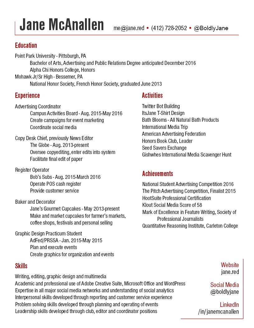resume jane mcanallen chief baker resume