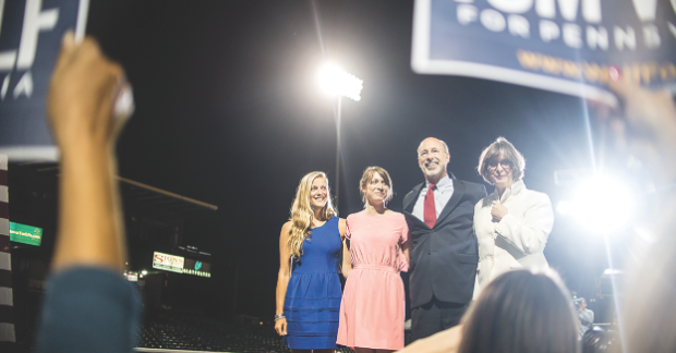 photo courtesy of wolfforpa.com Tom Wolf celebrates with hisfamily in York, Pa on Tuesday night after defeating incumbent Governor Tom Corbett to become Pennsylvania's 47th Governor.